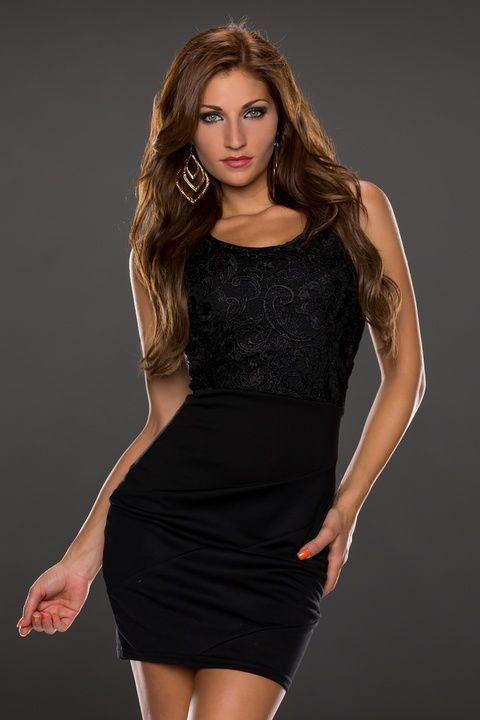 Lace Surface Tank Top Black Bodycon Dress
