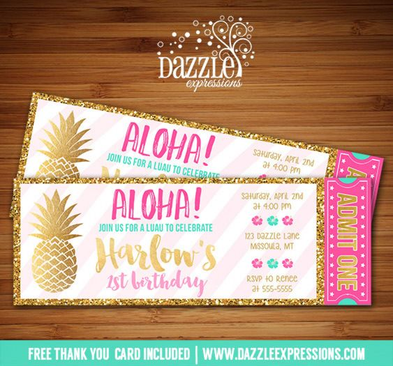 Printable Gold Pineapple and Luau Birthday Invitation | Pink, Mint and Gold Glitter | Tropical | Hawaiian Party | Digital File | Kids Birthday Party Idea or any event | Baby Shower | Bridal Shower | FREE thank you card | Party Package Available |  Banner | Cupcake Toppers | Favor Tag | Food and Drink Labels | Signs |  Candy Bar Wrapper | www.dazzleexpressions.com