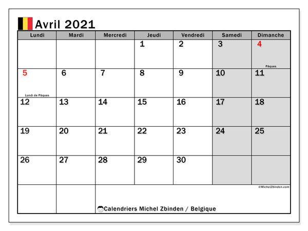 """Calendriers à imprimer 2021 """"Jours fériés""""   Michel Zbinden FR en"""