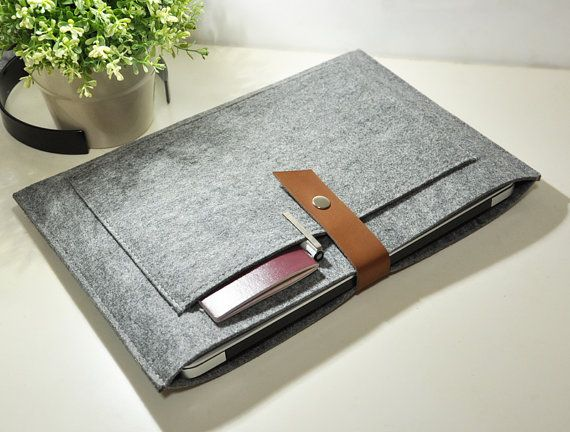 "Leather Felt 13"" Macbook Sleeve, 13 Macbook Case, Macbook 13 Pro Retina, 13 Macbook Air, 13 Macbook Cover -UF607"