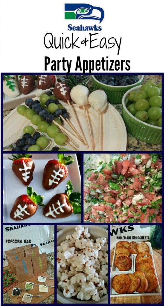 Check out these fun appetizers for football game days! These are quick & easy appetizers the whole family will enjoy, including a Popcorn Bar, Chocolate Dipped Football Strawberries, Homemade Bruschetta & more!