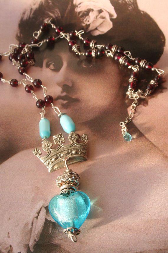 Heart necklace Heart pendant Vintage assemblage by IRISHTREASURE
