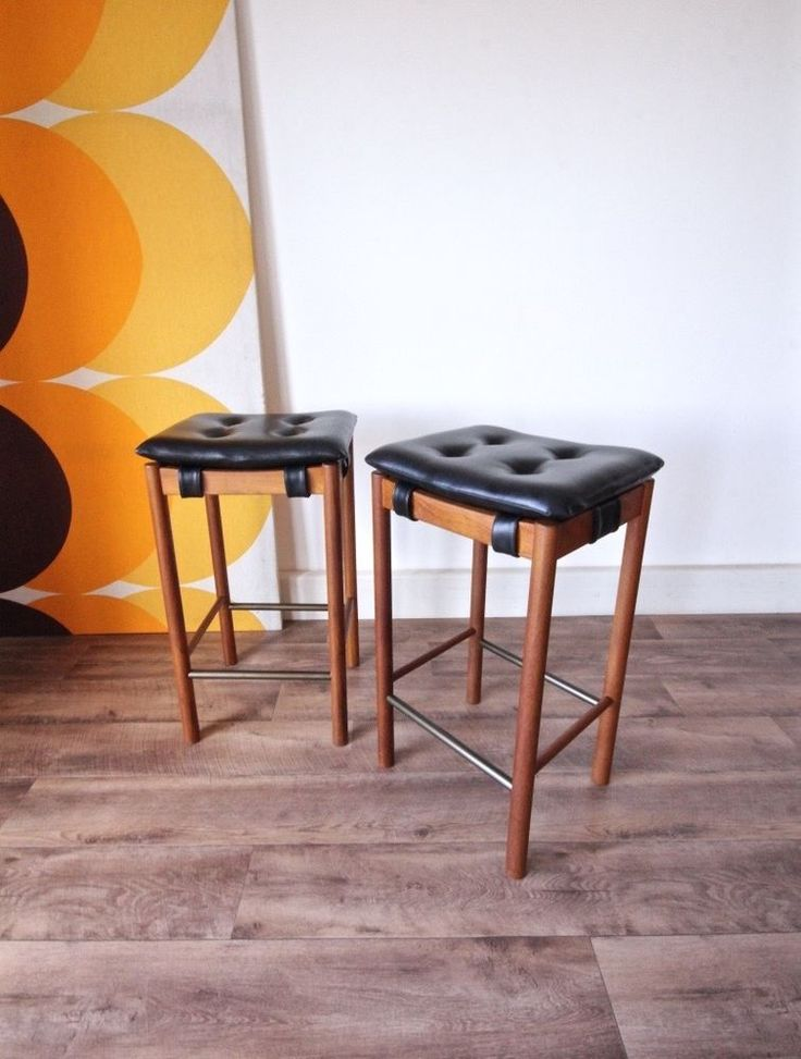 Pair of Authentic Parker Black Padded Teak Stools, Retro Vintage Chairs