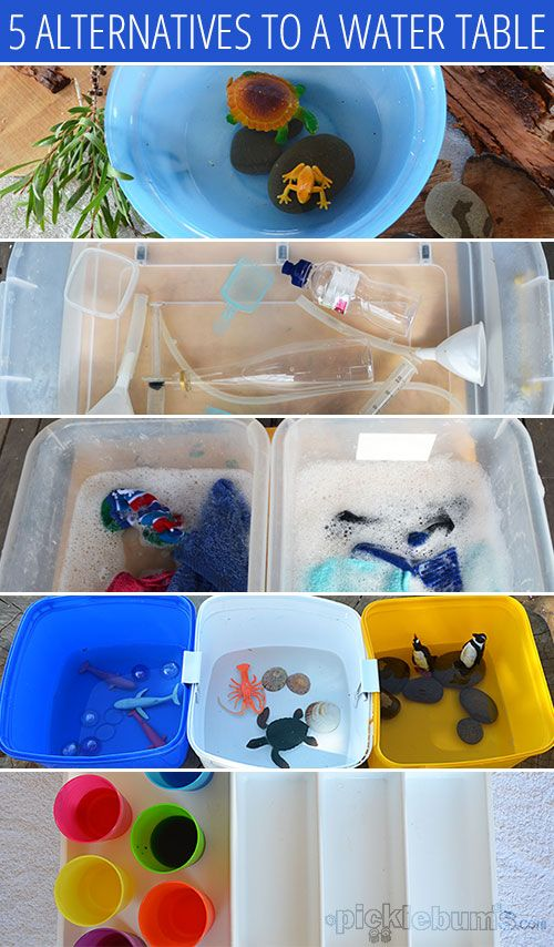Five Easy Alternatives to a Water Table.  Repinned by Apraxiakidslearning