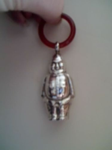 Antique Vintage Policeman Teething Ring Rattle Silver