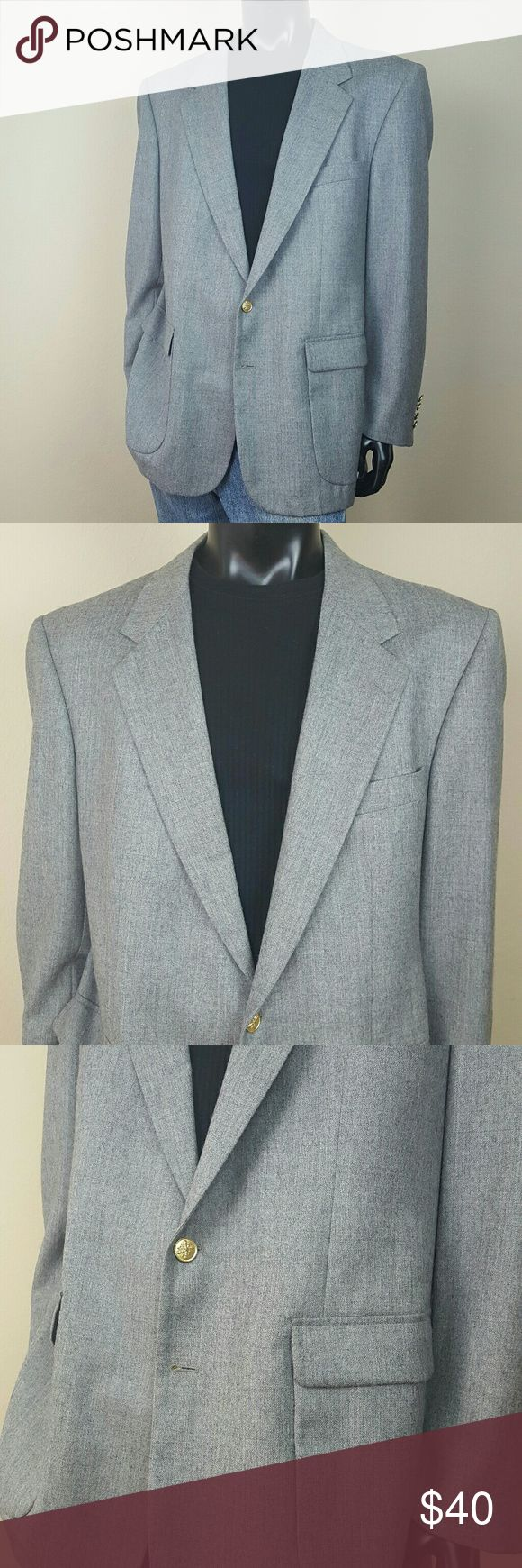 Macy's Savile Row Grey Sport Coat Blazer Excellent Used Condition. Macy's Savile Row Sport Coat Blazer. Classic Grey color and modern in fit, this gray suit jacket sets the tone for your formal style. Notch lapel, 2-button front, slant chest pocket, lower front pockets, 3 interior pockets (1 with button), fully lined, side vents, shell: polyester/rayon, lining: polyester. Size 46 Long. NO TRADES! Savile Row Suits & Blazers Sport Coats & Blazers