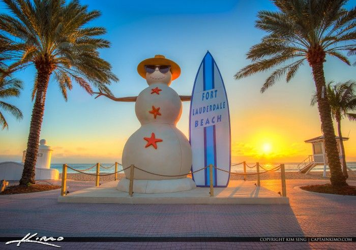 Beautiful sunrise at Las Olas Boulevard with the Snowman for Christmas in Fort Lauderdale Beach, Florida. HDR image created in Photomatix Pro and Topaz software.