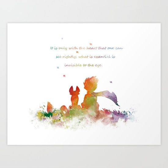 #littleprince #fox #art #print Collect your choice of gallery quality Giclée, or fine art prints custom trimmed by hand in a variety of sizes with a white border for framing.