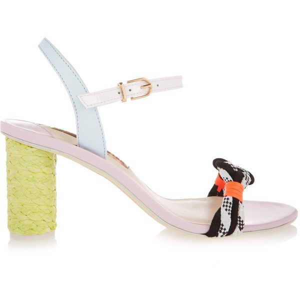 Sophia Webster - Atlanta Pastel Leather And Rope Sandals ($194) ❤ liked on Polyvore featuring shoes, sandals, lavender, strappy leather sandals, strappy high heel sandals, high heeled footwear, neon high heel sandals and leather shoes