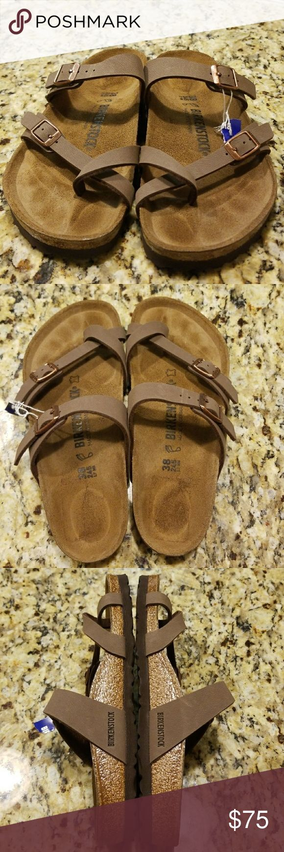 WOMENS BIRKENSTOCK MAYARI Suede-lined cork footbed combines with a cushy EVA sole to provide ultimate comfort in a casual sandal fashioned with adjustable straps for a custom fit.  (NEW)SANDALS WERE FLOOR MODEL INSOLE DOES HAVE FOOTPRINT SOLE DOES NOT SHOW ANY WEAR UPPER STRAPS A LITTLE DIRTY PLEASE REVIEW ALL PIX😊  COLOR:MOCHA Birkenstock Shoes Sandals