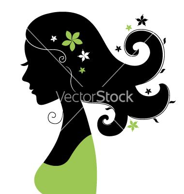 Beautiful woman silhouette with flowers in hair vector 1860118 - by lordalea on VectorStock®