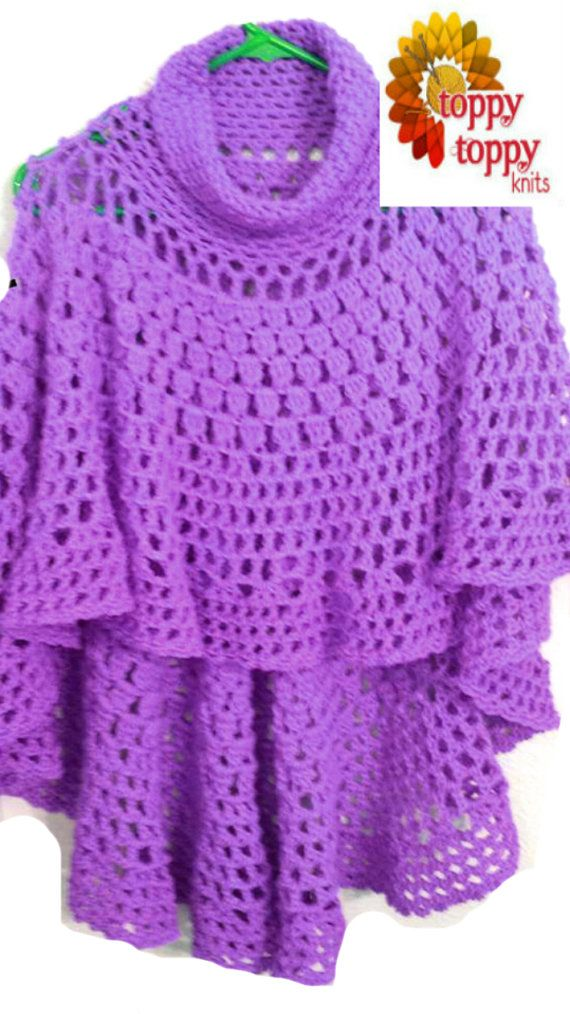 Circular Asymmetric Poncho Shawl Crochet by ToppyToppyKnits