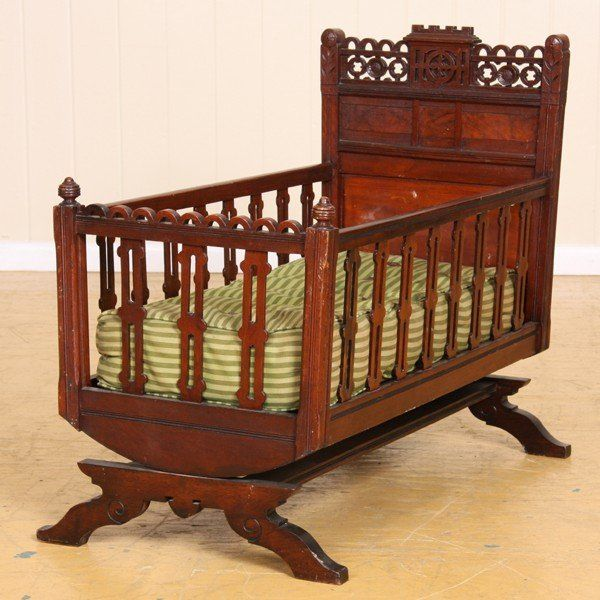 19th C solid walnut Eastlake Victorian cradle. | Vintage Baby Cradles |  Pinterest | Furniture, Bedroom Furniture and Antiques - 19th C Solid Walnut Eastlake Victorian Cradle. Vintage Baby