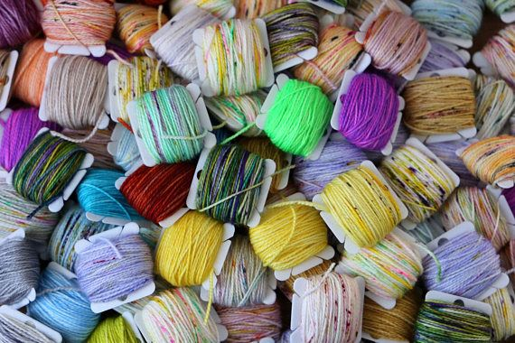 Listing is for one Frankensocks Kit. Kit includes 20 5 gram mini skeins of hand dyed sock yarn. Each kit is unique, and includes a mix of tonal, variegated, and speckle yarns. No repeat colorways per kit, meaning you will receive 20 different mini skeins. Ill do my best to make sure that
