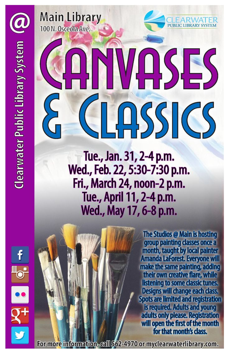 """Canvases and Classics:  Do you enjoy painting parties? Have you ever wanted to try out """"Painting with a Twist"""" or a similar style class? Well now you can for free! The Studios@ Main will be having group painting classes.  Everyone will make the same painting, adding their own creative flare, while listening to some classic tunes. Designs will change each class. Join us once a month with local painter Amanda LaForest and let your artistic side shine."""