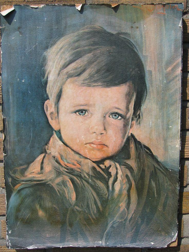 Troostkunst. Jongen met een Traan. Ook bekend als schilderij van huilende zigeunerjongen. wie had hem niet toen die tijd.