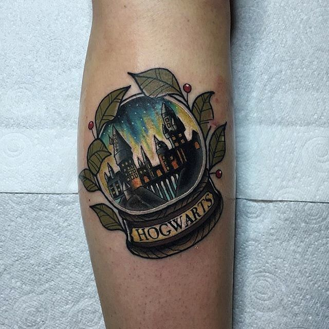 Hogwarts Snowglobe Tattoo by Chris Stockings
