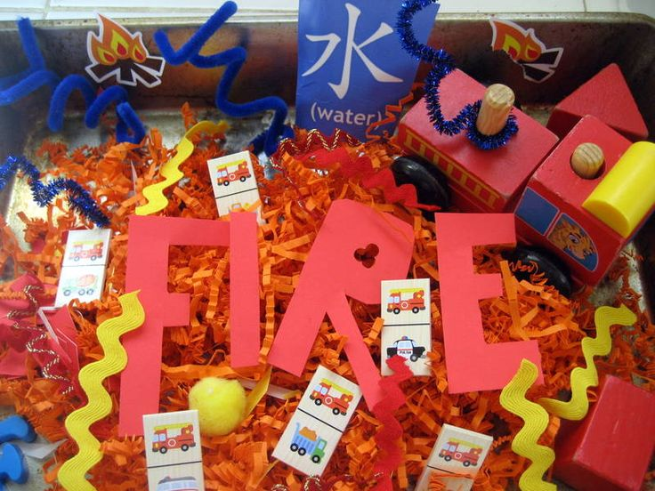 Fire Sensory Bin + 9 Other Activities/Crafts for Fire Prevention Week #firepreventionweek #sensorybin #kbn