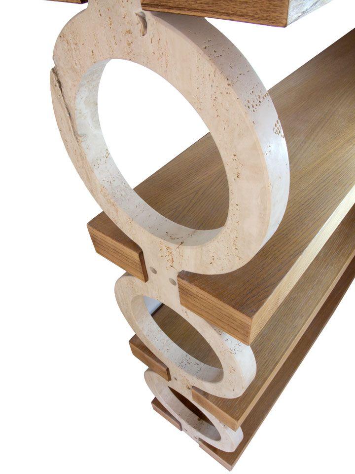 Artigiano: Cecconi Marmi  Libreria ad anelli di travertino a foro aperto sagomati, con ripiani in legno di spessore 6 cm. #Ductilia #MadeinMarche  Dimensioni120 x 35 x 180 cm