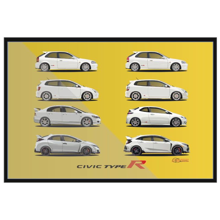 Civic Type R White With Yellow Ek9 Ep3 Fn2 Fd2 Fk2 Fk8 J7artwork