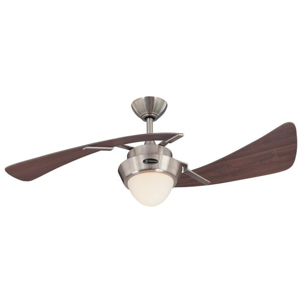 """Westinghouse 7214100 48"""" Brushed Nickel & Maple Plywood Two Blade Ceiling Fan"""