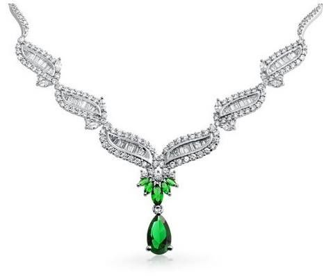 Bling Jewelry Vintage Style Simulated #Emerald #CZ Teardrop Bridal #Necklace #Rhodium Plated  List Price: $301.99 Price: $149.99 You Save: $152.00 (50%)  https://www.facebook.com/Buyers.Digest