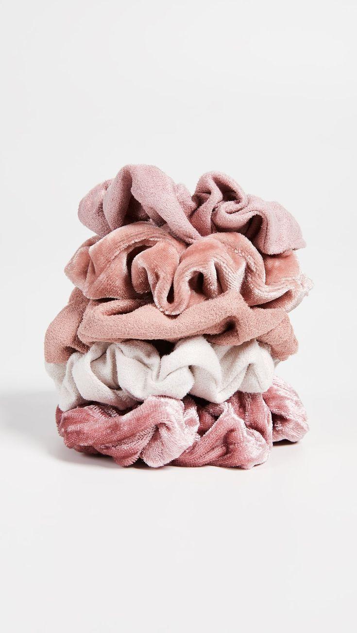 Kitsch Velvet Scrunchies – Pink – #Kitsch #Pink #s…