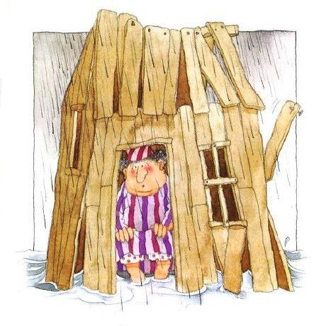 (Het huis op de rots - prent 10:) Het regent dat het giet, het dondert en het bliksemt. Het water bonkt tegen de muren en stroomt al vlug zijn huisje binnen. Zijn voeten worden drijfnat.