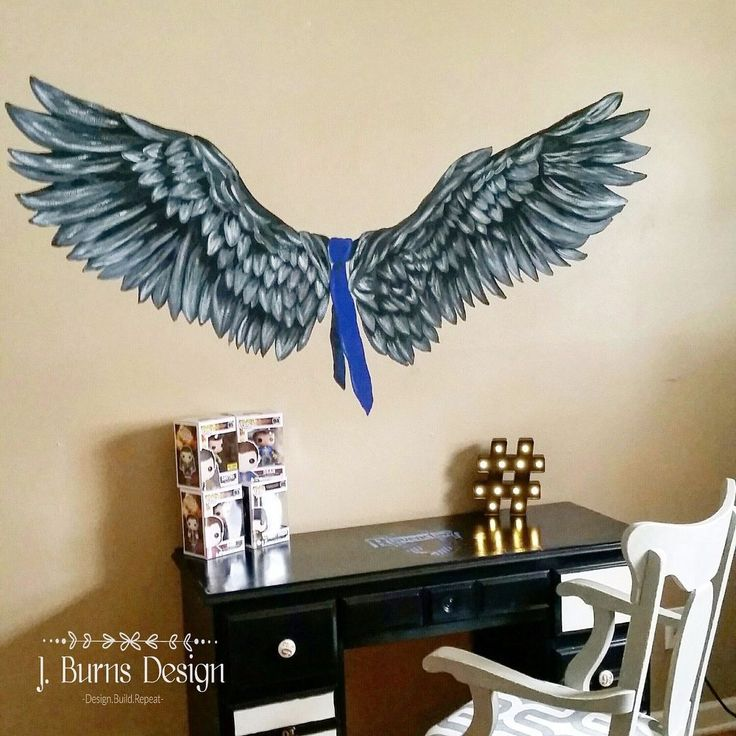 My daughter loves the show Supernatural and asked for a poster of Castiel's wings.  Well I decided to do one better.  I'll just paint them for her. I have been…