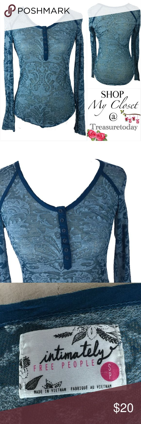 Free People Semi Sheer Blue Long Sleeve Top Super cute! Excellent condition, no rips or stains. Has stretch and looks sexy on since it's semi transparent. Bundle 2 or more items to get %10 off 💖 Free People Tops Tees - Long Sleeve