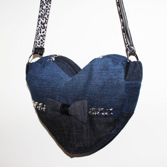 Upcycled Denim Heart Purse Ecofriendly Messenger Bag handmade by theeKissOfLife, $25.00