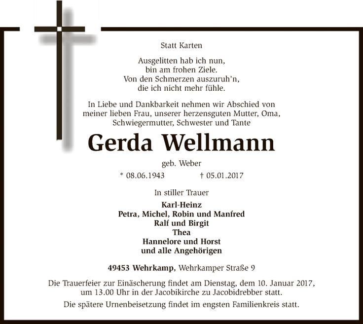 Anzeige von Gerda Wellmann | trauer.kreiszeitung.de - Gerda-Wellmann#/Trauerfall