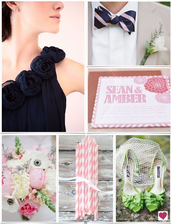 Preppy New England Wedding Inspiration Board #weddinginspiration #weddings #inspirationboard #preppy #newengland #pink #blue #green #bowties #stripedstraws #spring #heartloveweddings