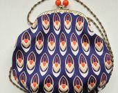 borsa pochette in stile vintage - seta blu navy anni '70 : Borsette di le-t