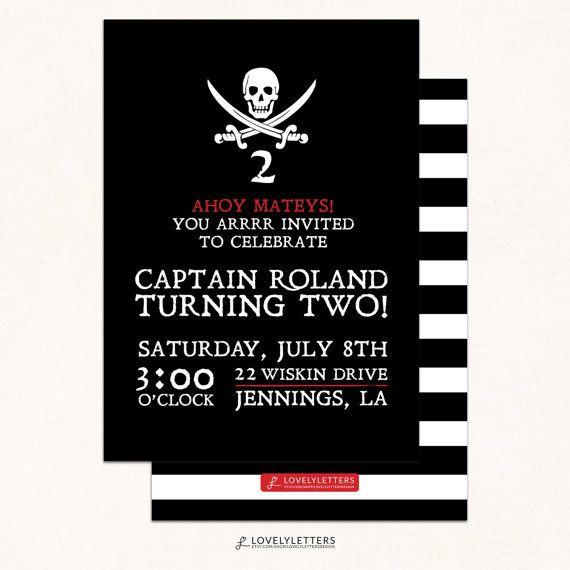 Pirate Birthday Invitation / Pirate Invitation / Modern Boy