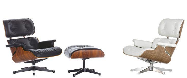 Vitra levert de Lounge Chair nu in twee formaten: het klassieke model en een ruimer model. Bovendien zijn er naast de verschillende combinaties van lederen bekledingen, houten schalen en onderstellen nu ook een witte en een zwarte uitvoering van de Lounge Chair verkrijgbaar, voorzien van de bijbehorende details.