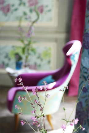 Chair. Wild flowers. Colour styling.