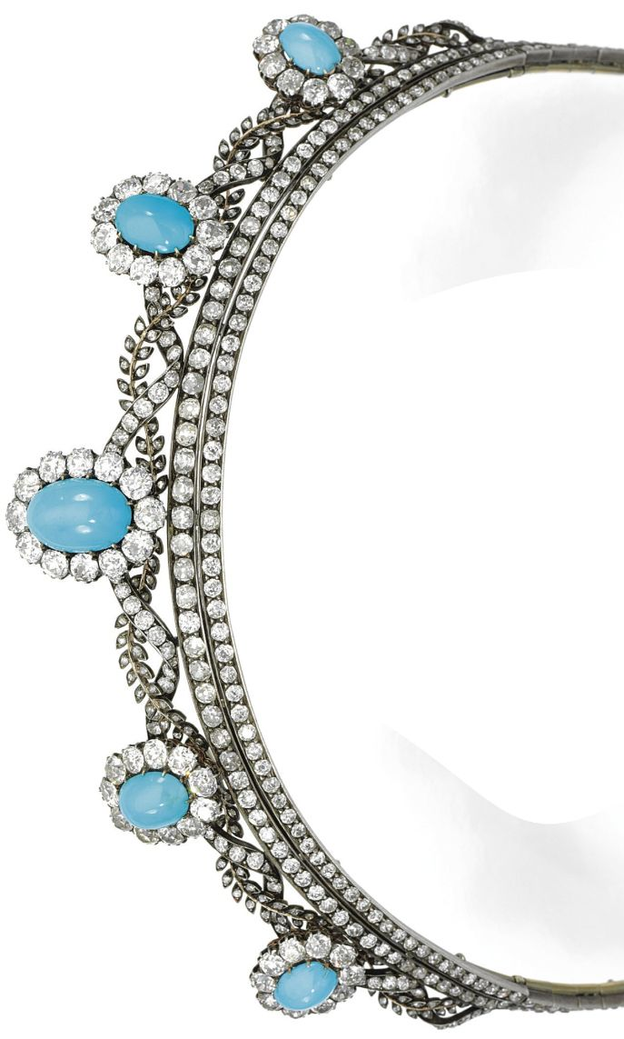 TURQUOISE AND DIAMOND TIARA, 1880s. Of interwoven foliate and ribbon design set with circular-cut and rose diamonds, set at intervals with five clusters of cabochon turquoise within borders of cushion-shaped and circular-cut diamonds, inner circumference approximately 383mm, clusters detachable, one small diamond deficient.