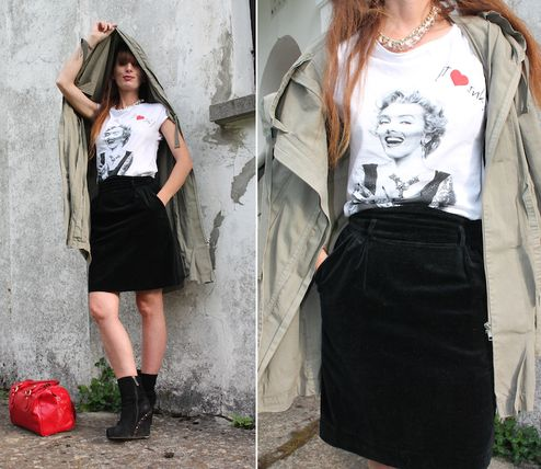 The Fashionamy By Amanda Fashion Blogger Outfit, Made In Italy Street Wear : Marylin E Una Gonna Di Velluto - Cinema Icon And A Velvet Skirt  #Skirt #Black #parka #tshirt #bag