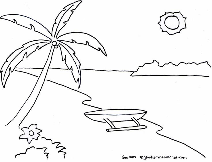 Mewarnai Gambar Pemandangan Pantai OK
