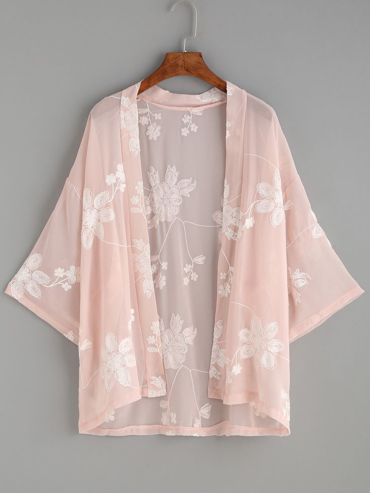 Shop Flower Embroidered Semi-Sheer Kimono online. SheIn offers Flower Embroidered Semi-Sheer Kimono & more to fit your fashionable needs.