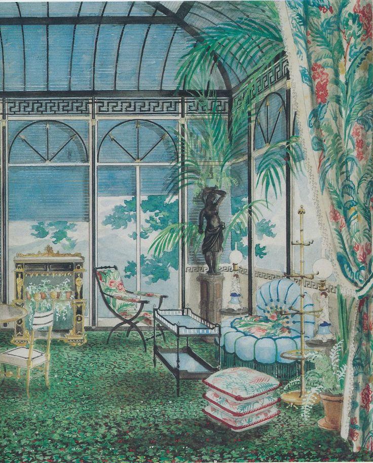 Interior - Alexandre Serebriakoff - Castaing's ceramic garden stool at the 1948 Salon des Antiquaires
