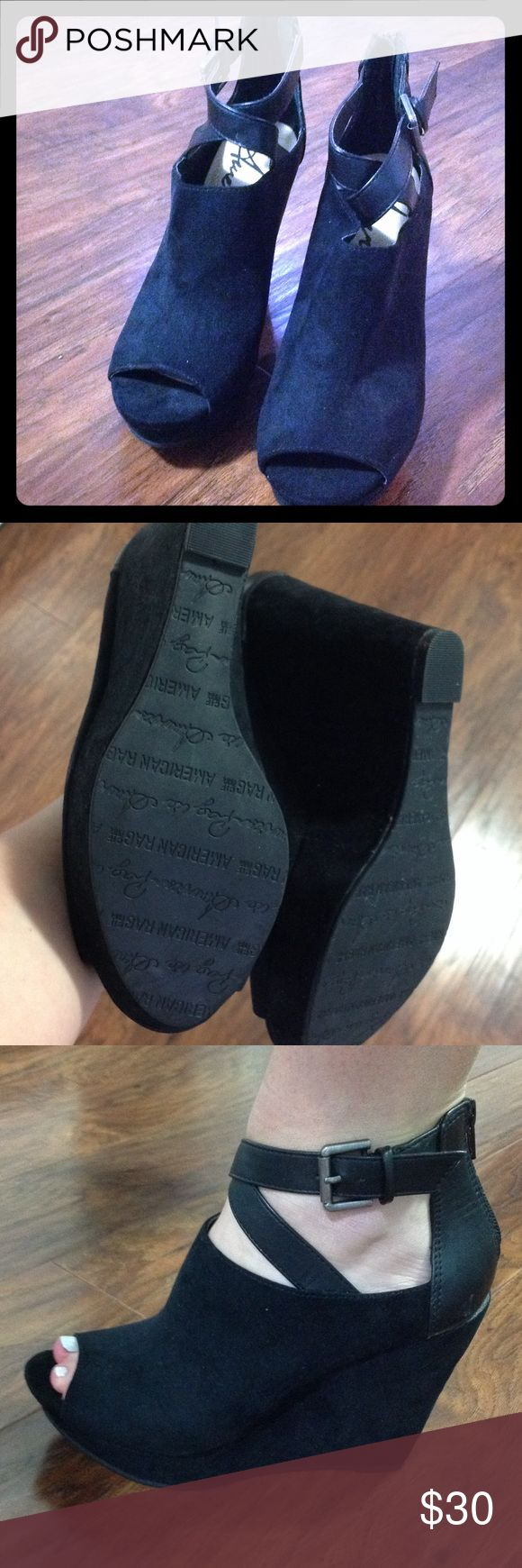 Black suede wedge with ankle strap and peep toe NWOT! Suede platform wedge with pleather ankle strap. Never been worn, look brand new! Shoes Wedges