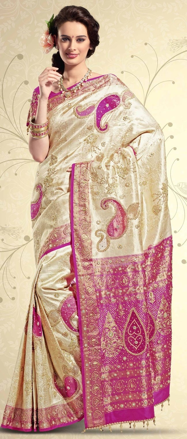 Cream Pure Brocade #Silk #Saree with #Blouse @ $824.39 | Shop @ http://www.utsavfashion.com/store/sarees-large.aspx?icode=skl1230