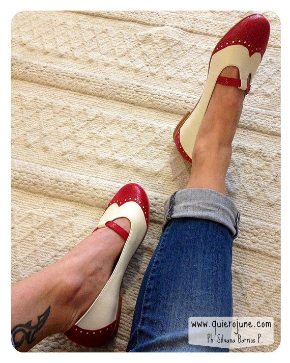 Red and white flat leather shoes by QuieroJune on Etsy