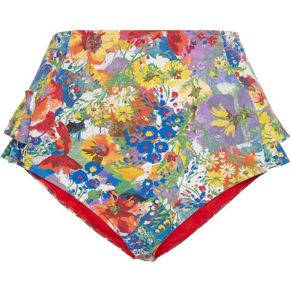 Stella McCartney High-Rise Floral-Print Bikini Briefs ($140) ❤ liked on Polyvore featuring swimwear, bikinis, floral, ruffle bikini bottom, high rise bikini, floral bikini bottoms, floral swimwear and floral two piece