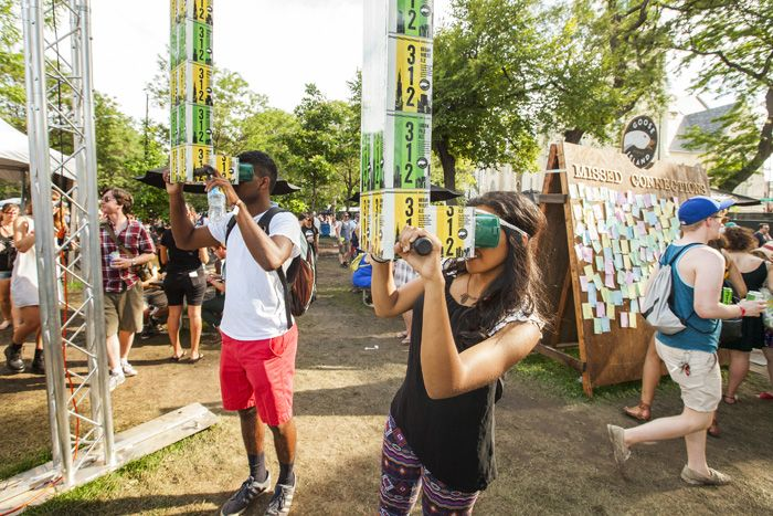 Local beer company Goose Island made custom periscopes, set back from the main stages, that let guests peer at the festival crowds near the stages.  Photo: Barry Brecheisen for Bizbash