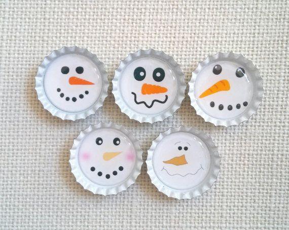Bottle Cap Magnets Snowman Faces Set of 5 by CrocusRoadCrafts