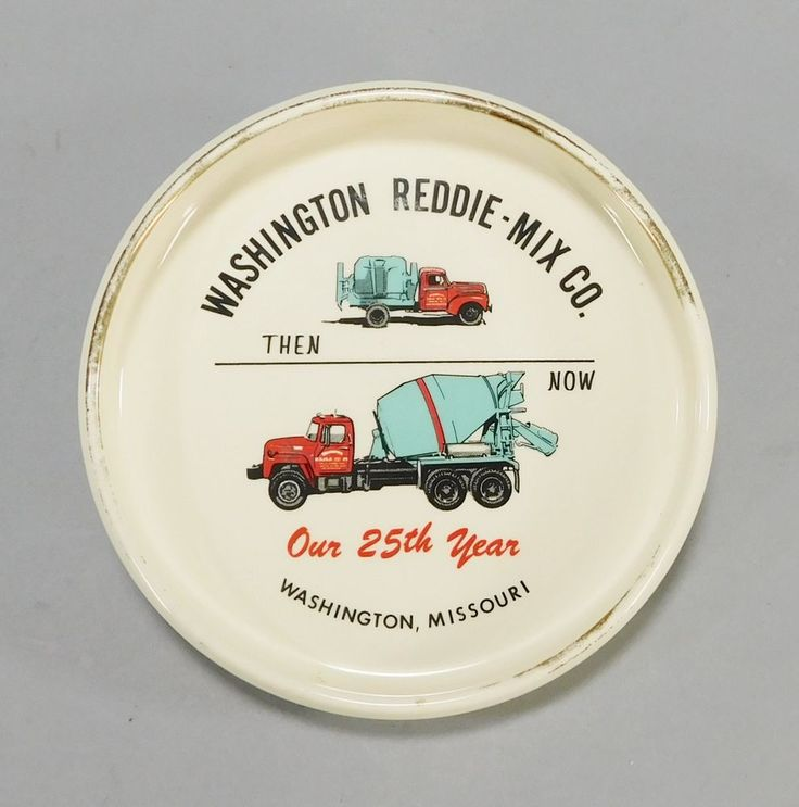 1960s Vintage Ashtray Coin Tray Washington MO Reddie-Mix Cement Mixer Ash Tray