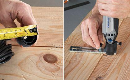Paso 3: A continuación, mida el diámetro de la instalación de luz para determinar el tamaño de la abertura usted necesita hacer. Ajuste la Guía de Corte 678 al mismo diámetro. Retire la rosca de su Minitorno y ajuste el Aditamento Guía de Corte 678. Encienda a velocidad máxima. Inserte la punta de la guía de corte en el agujero que hizo en el paso anterior para usar como guía. Empiece a cortar en dirección a las agujas del reloj con una presión moderada.